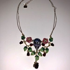 Betsy Johnson rose and skull necklace